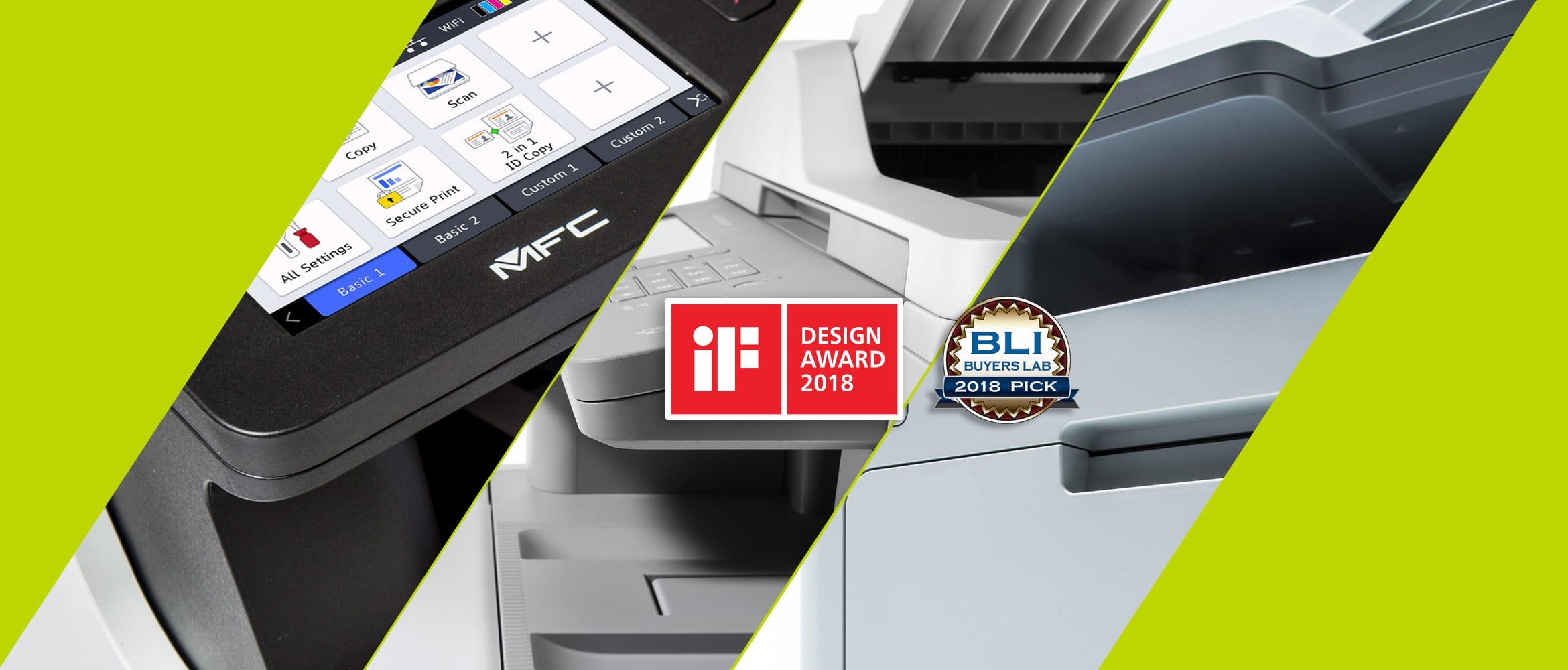 IF and BLI award logos with MFC printer and laser printers
