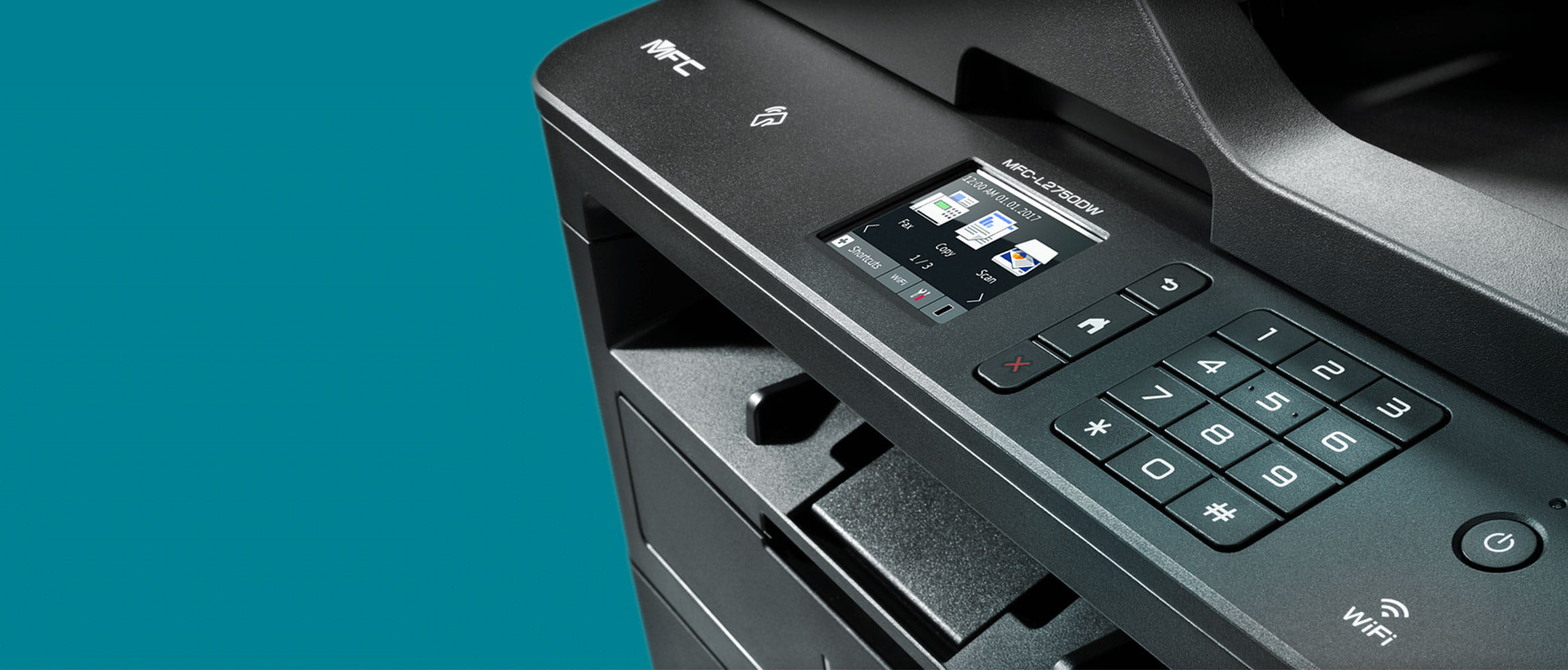 MFC-L2750DW multifunction mono laser printer on teal background
