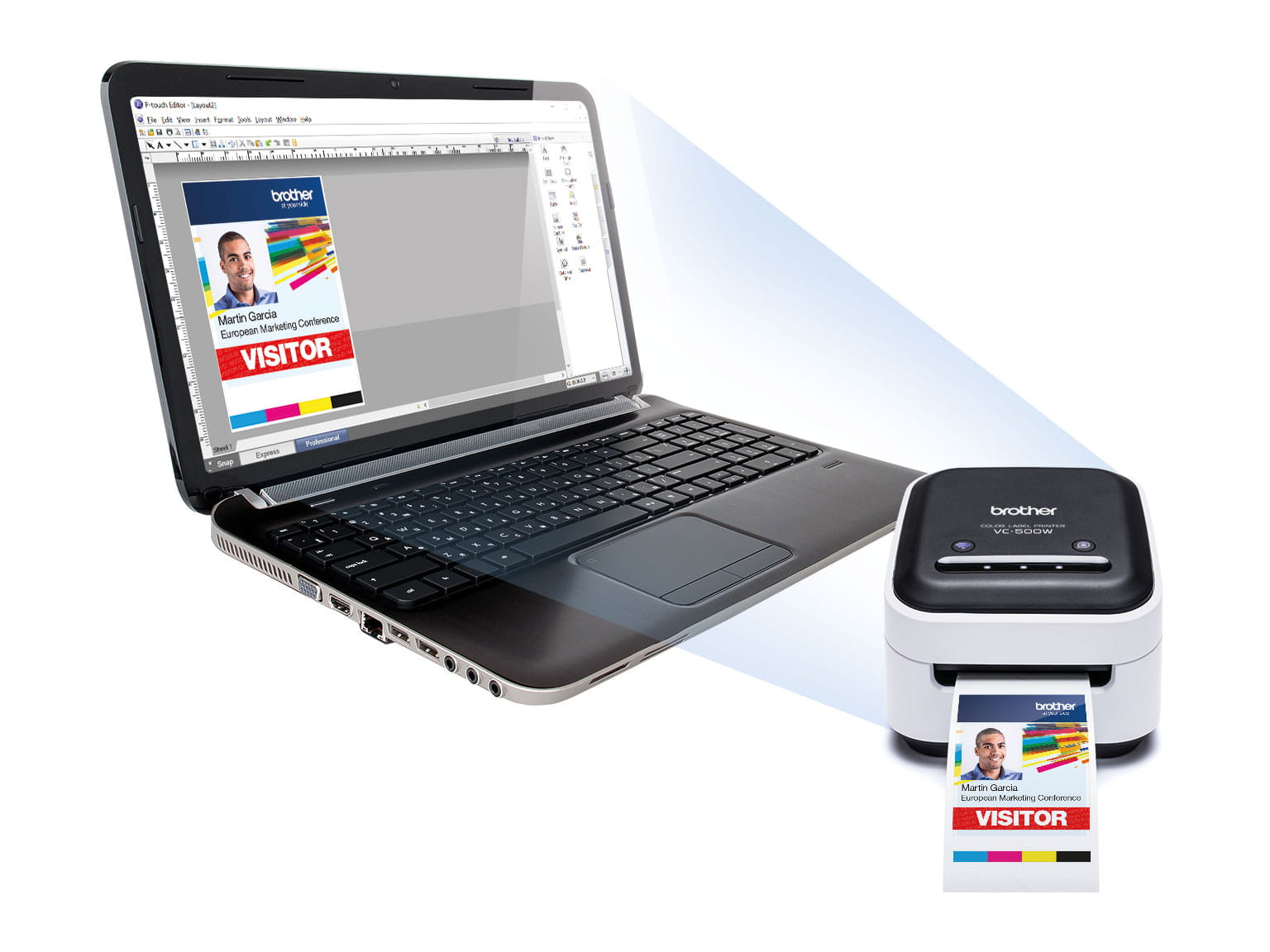 VC-500W label printer and laptop