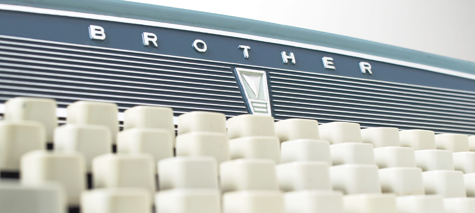 All about Brother, retro typewriter extreme close up