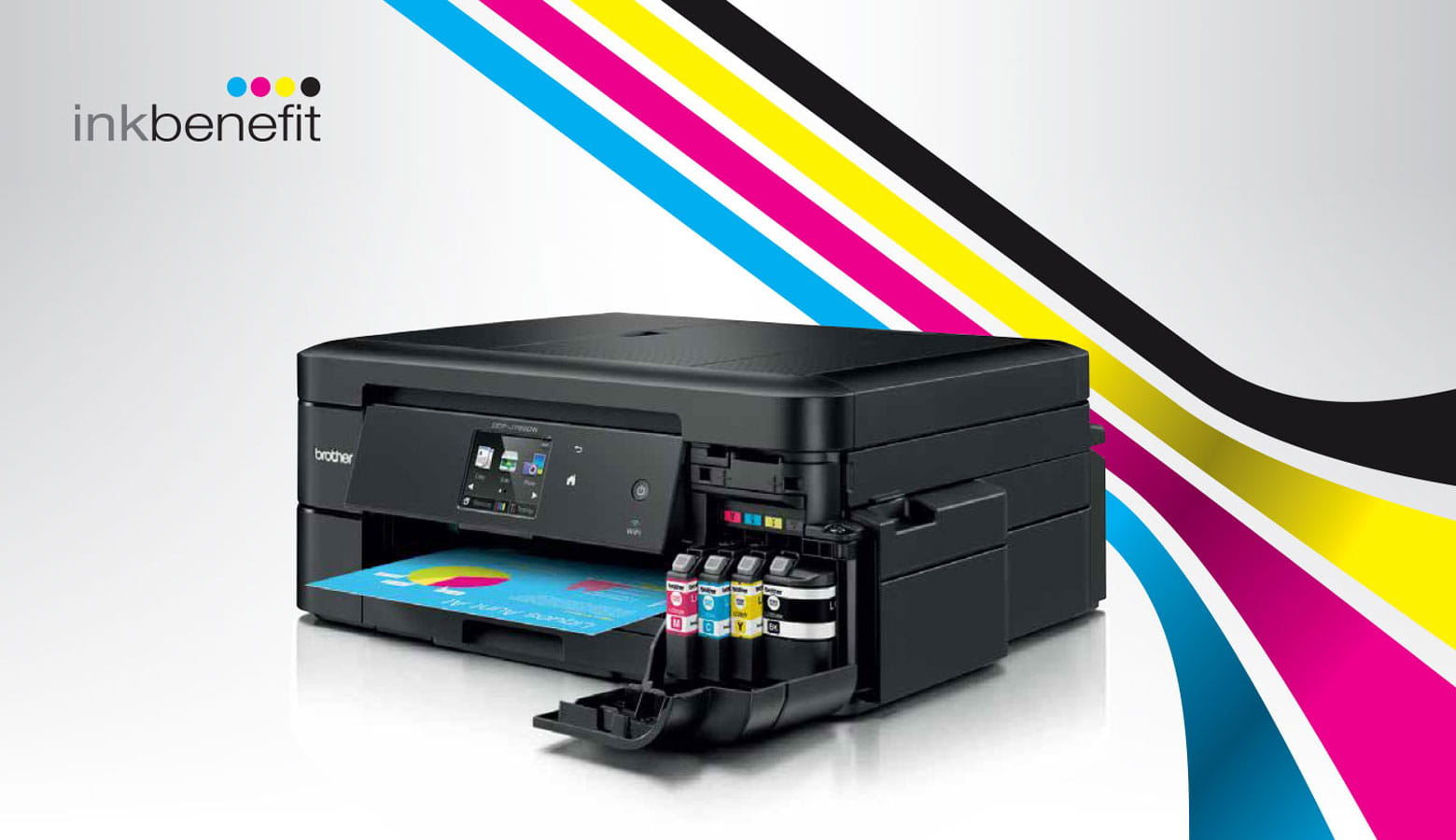 Brother printer with ink benefit background