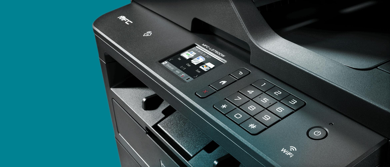 Mono Laser Printer on Teal Background