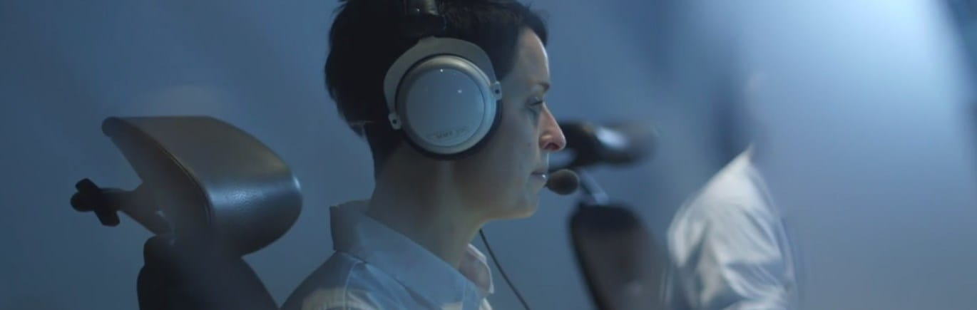 Brother OmniJoin military woman wearing headphones with microphone