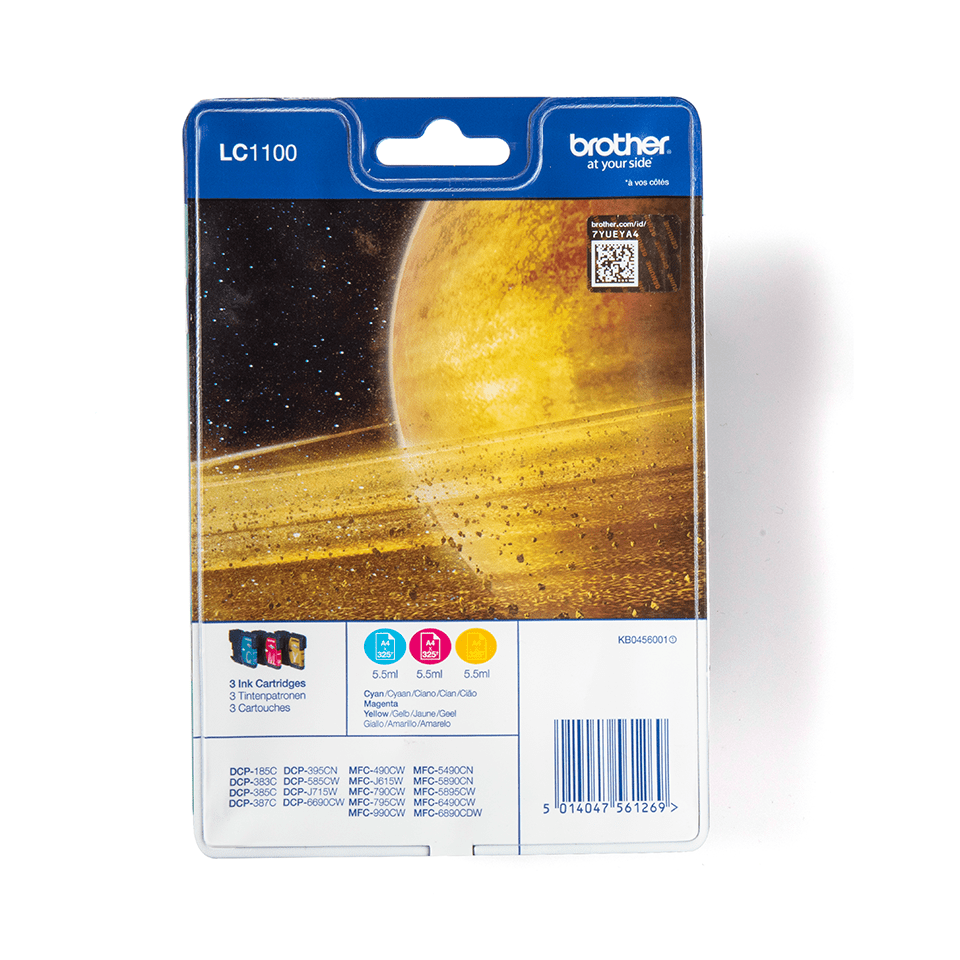 Genuine Brother LC1100RBWBP Ink Cartridge Rainbow Blister Pack