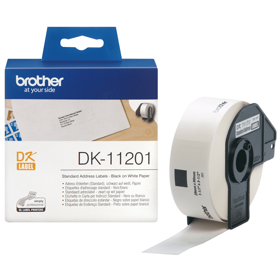 Genuine Brother DK-11201 Label Roll – Black on White, 29mm x 90mm 3