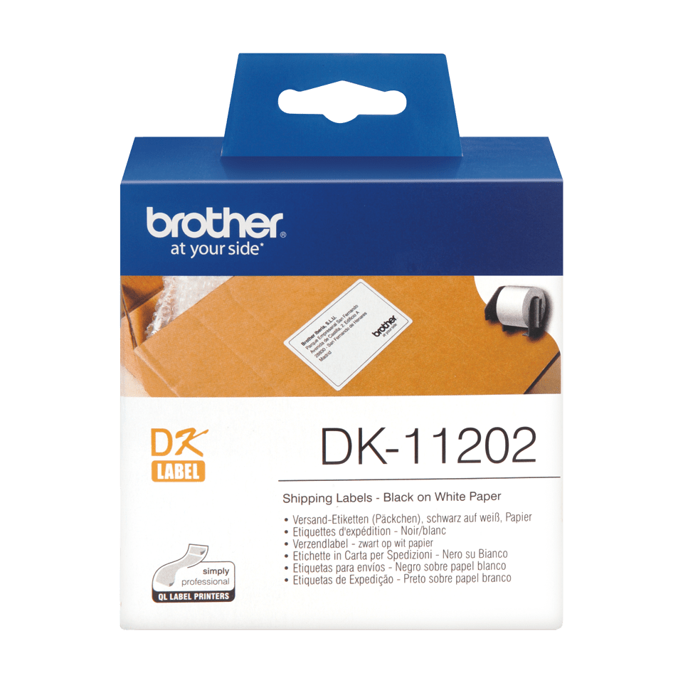 Genuine Brother DK-11202 Label Roll – Black on White, 62mm x 100mm 0