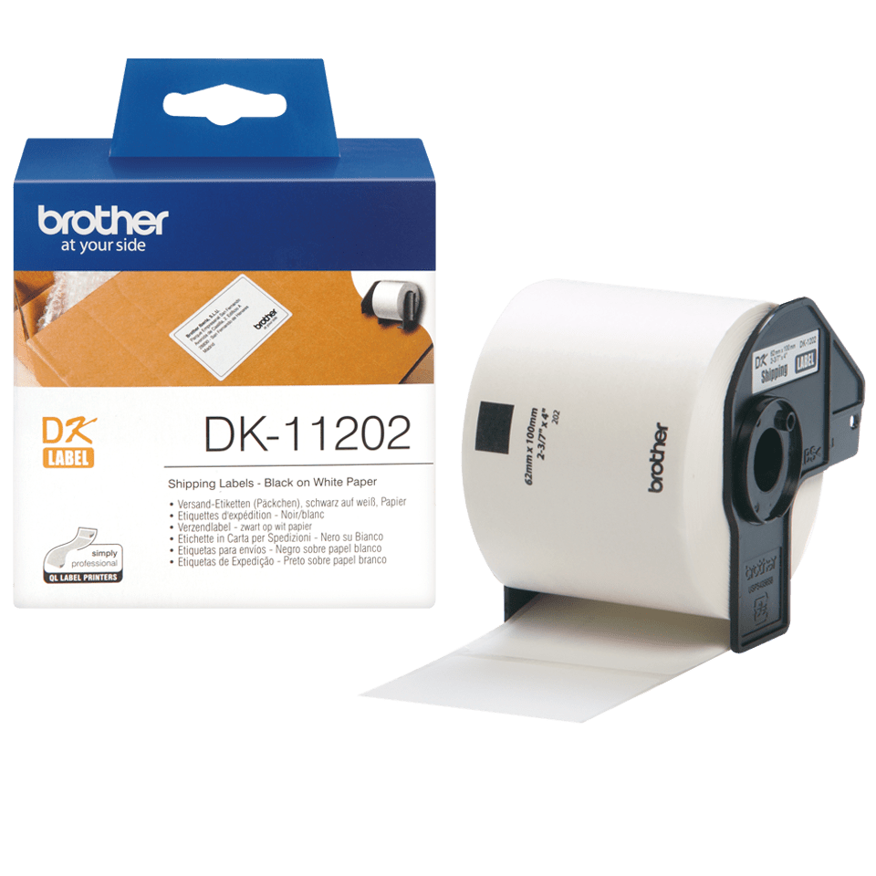 Genuine Brother DK-11202 Label Roll – Black on White, 62mm x 100mm 2
