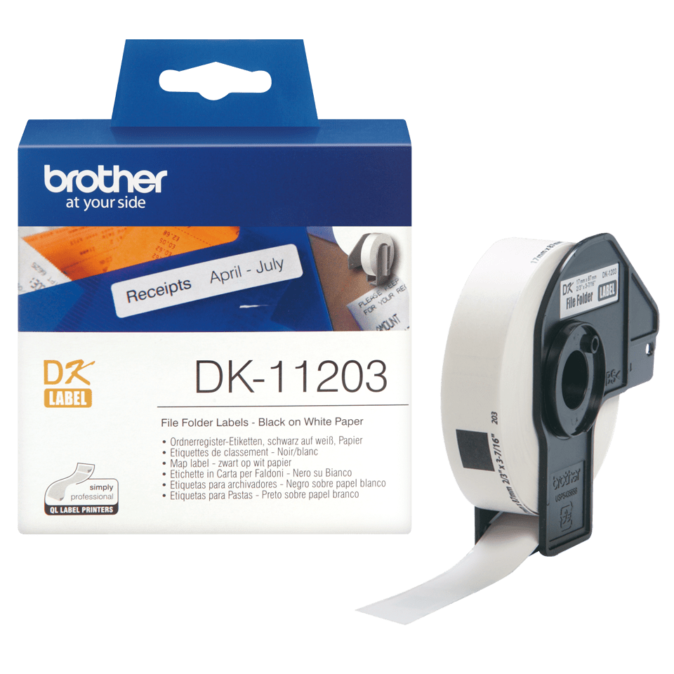 Genuine Brother DK-11203 Label Roll – Black on White, 17mm x 87mm 3