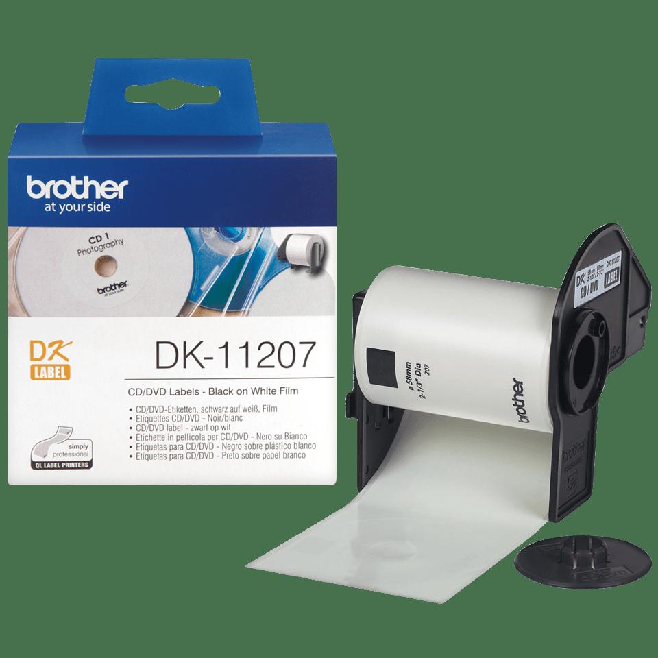 Genuine Brother DK-11207 CD/DVD Film Label Roll – Black on White, 58mm diameter 3