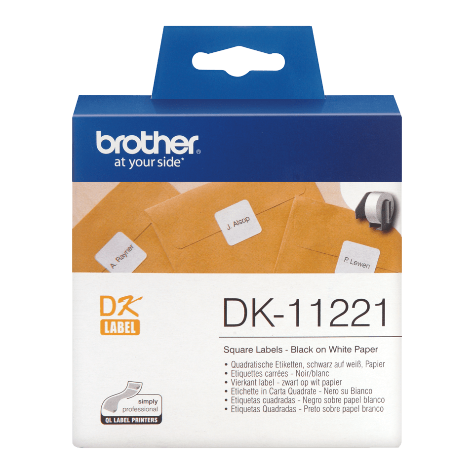 Genuine Brother DK-11221 Label Roll – Black on White, 23mm x 23mm