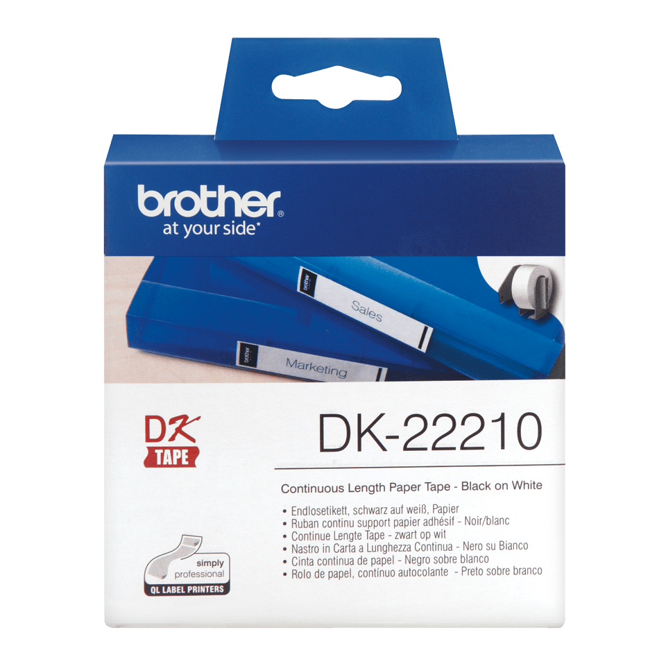 Genuine Brother DK-22210 Labelling Tape – Black on White, 29mm wide