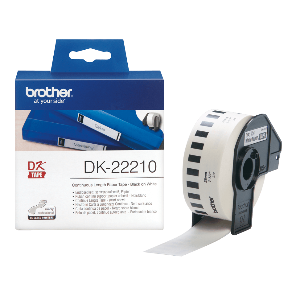 Genuine Brother DK-22210 Labelling Tape – Black on White, 29mm wide 3