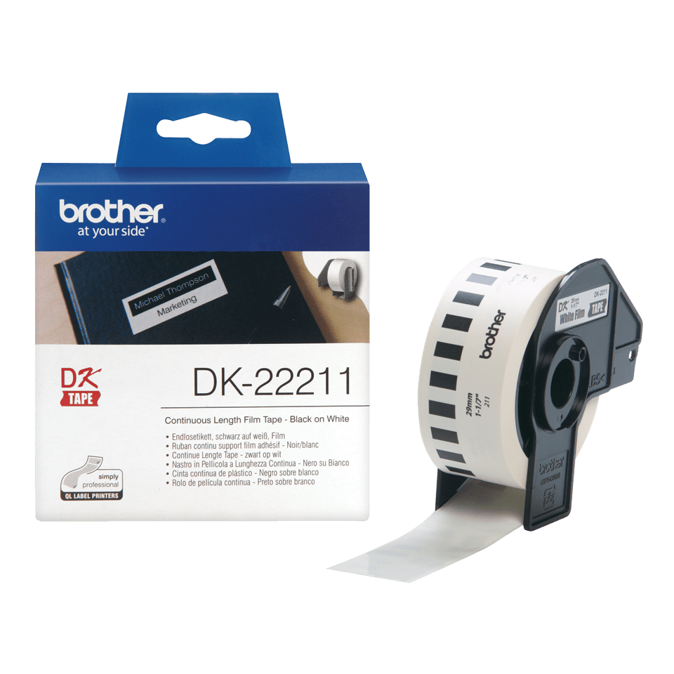 Genuine Brother DK-22211 Continuous Film Label Roll – Black on White, 29mm. 3