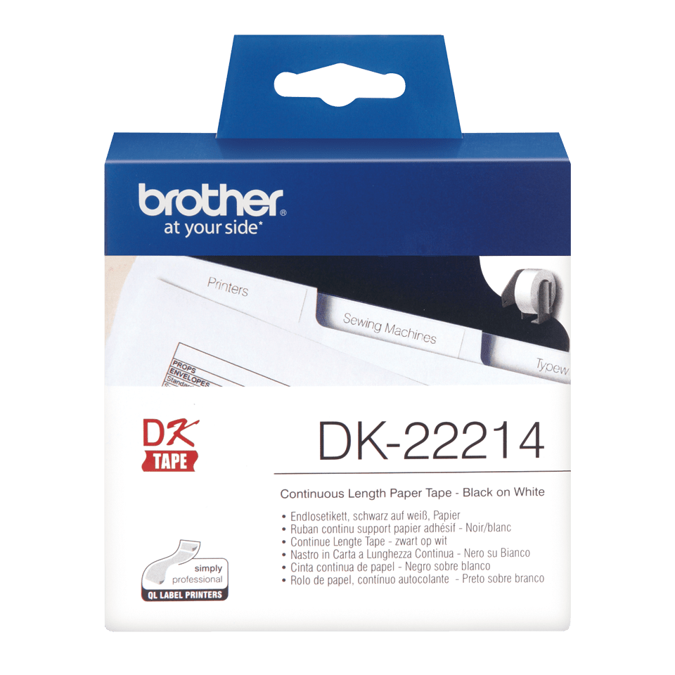 Genuine Brother DK-22214 Continuous Paper Label Roll – Black on White, 12mm wide