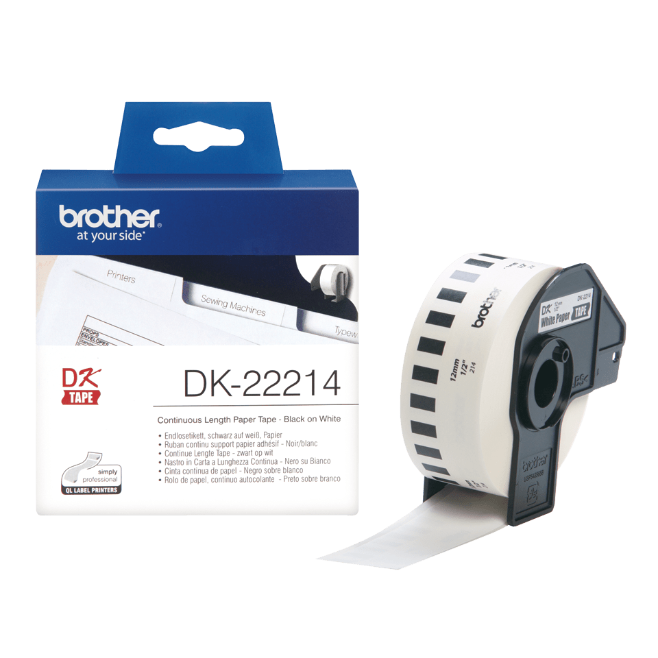 Genuine Brother DK-22214 Continuous Paper Label Roll – Black on White, 12mm wide 3