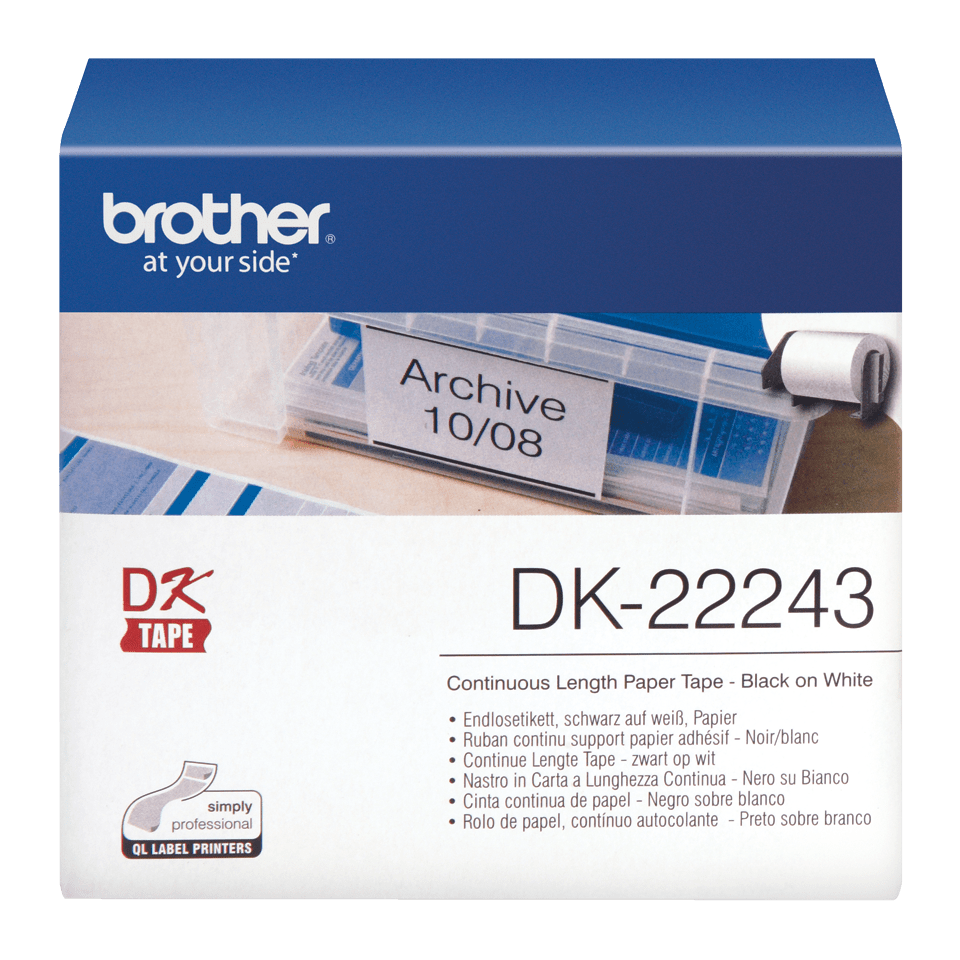 Genuine Brother DK-22243 Continuous Paper Label Roll – Black on White, 102mm wide