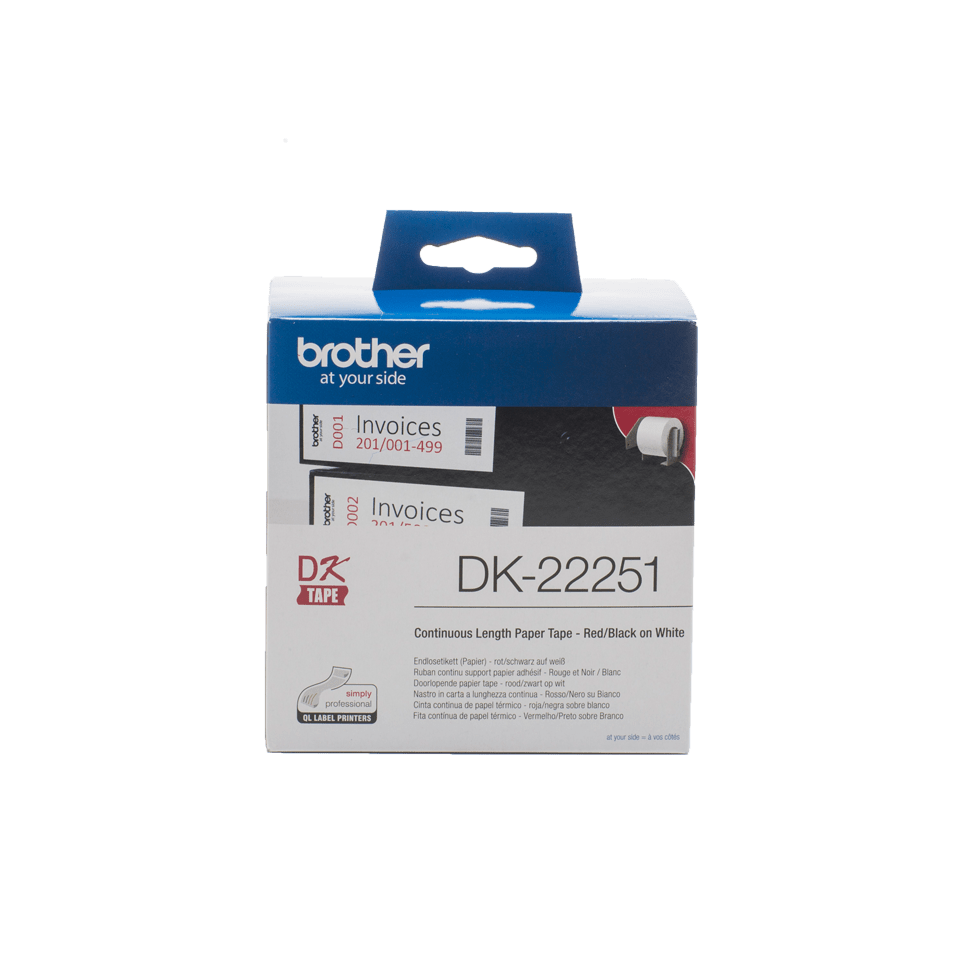 Genuine Brother DK-22251 Continuous Paper Label Roll – Black and Red on White, 62mm