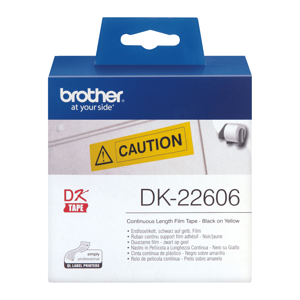 Genuine Brother DK-22606 Continuous Film Label Tape – Black on Yellow, 62mm wide 2
