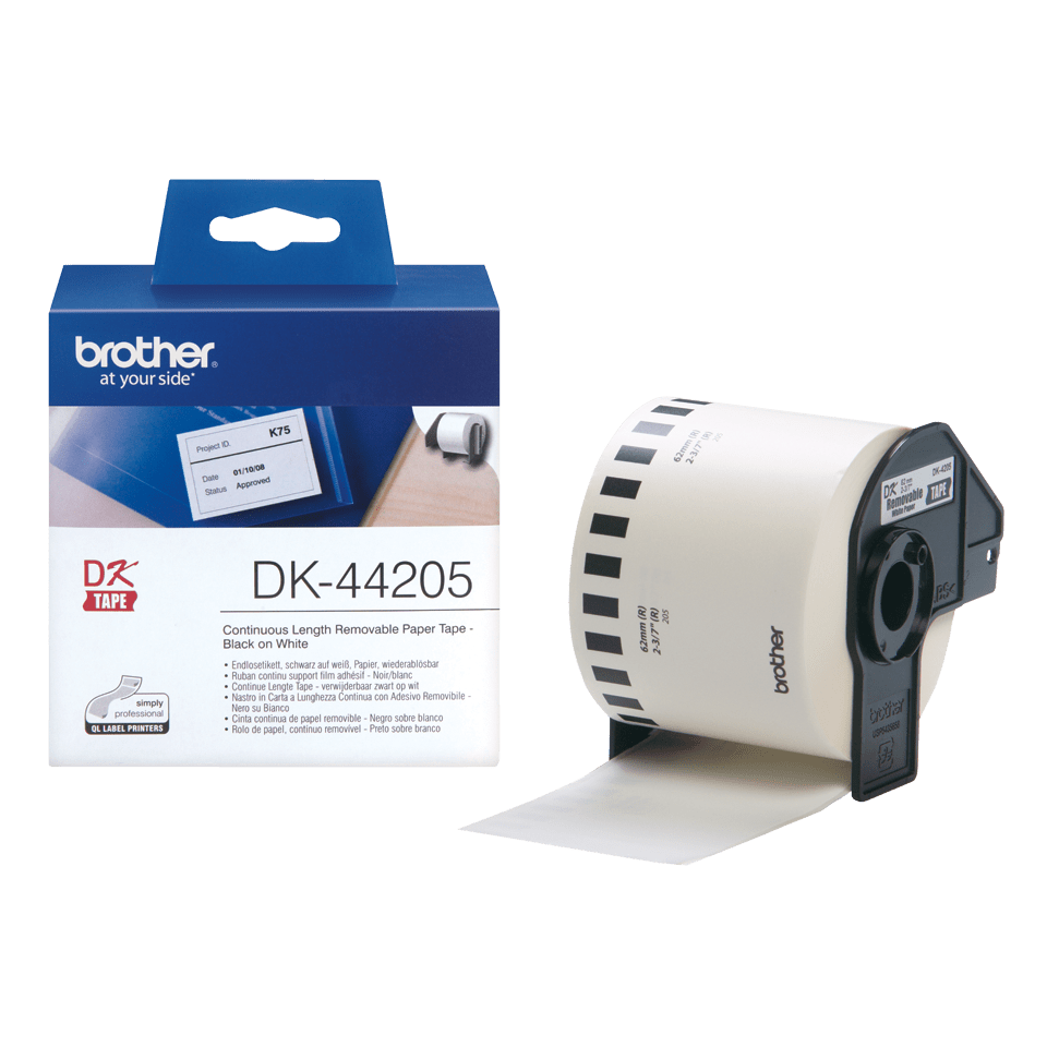 Genuine Brother DK-44205 Continuous Paper Label Roll with Removable Adhesive – Black on White, 62mm 3