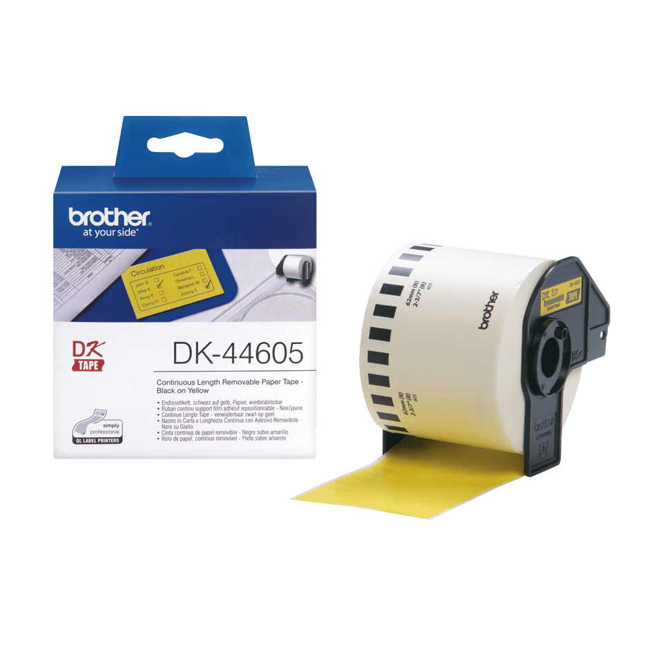 Genuine Brother DK-44605 Continuous Paper Label Roll with Removable Adhesive – Black on Yellow, 62mm 3