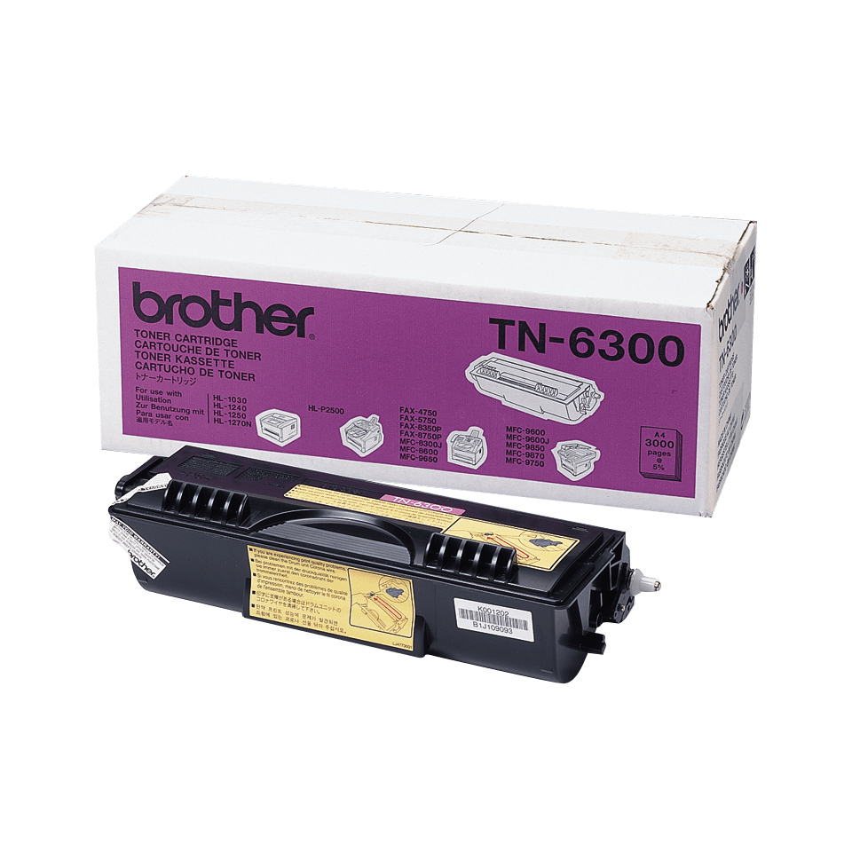 Genuine Brother TN-6300 High Yield Toner Cartridge – Black