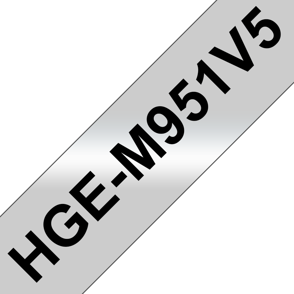 Genuine Brother HGe-M951V5 Labelling Tapes – Black on Matt Silver, 24mm wide