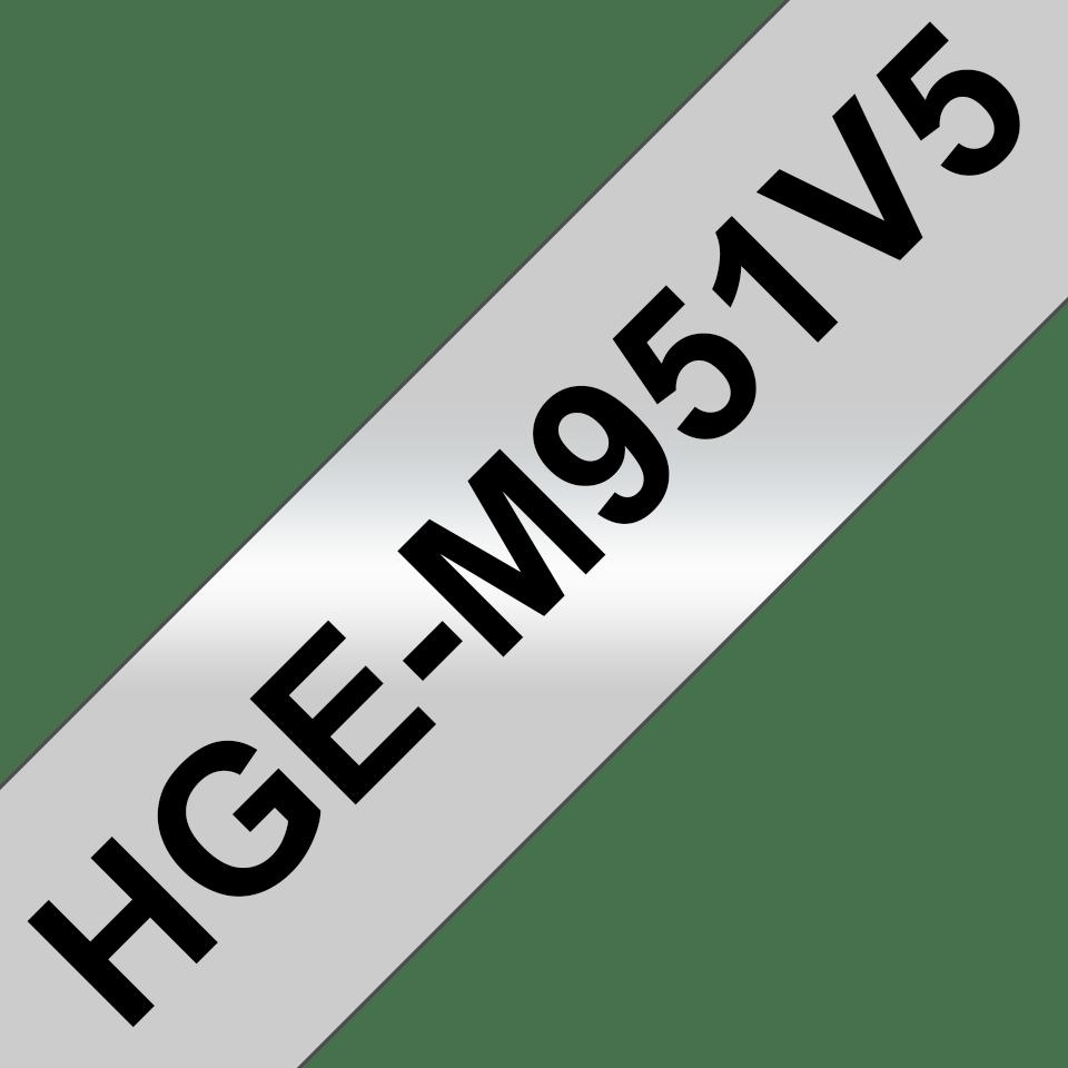 Genuine Brother HGe-M951V5 Labelling Tapes – Black on Matt Silver, 24mm wide