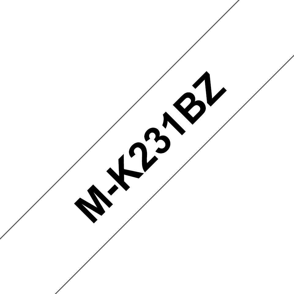 Genuine Brother M-K231BZ Labelling Tape – Black on White, 12mm wide