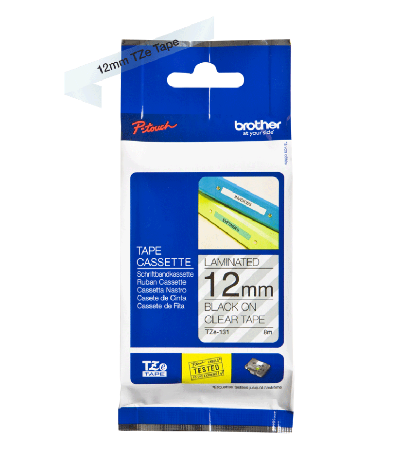 Genuine Brother TZe-131 Labelling Tape – Black on Clear, 12mm wide 2