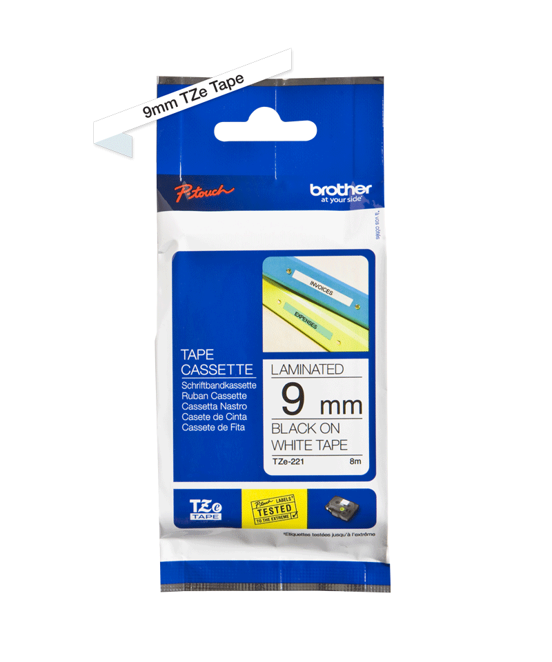 Genuine Brother TZe-221 Labelling Tape – Black on White, 9mm wide 1