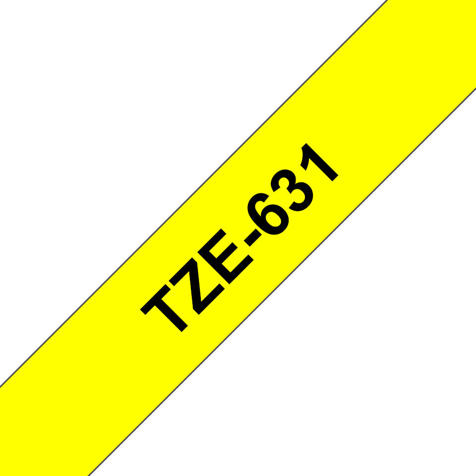 Genuine Brother TZe-631 Labelling Tape – Black on Yellow, 12mm wide 3