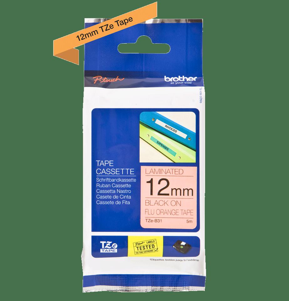 Genuine Brother TZe-B31 Labelling Tape Cassette – Fluorescent Orange, 12mm wide 1