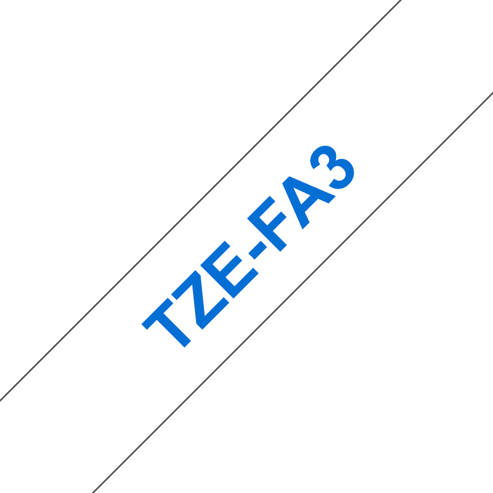 Genuine Brother TZe-FA3 Fabric Tape Cassette – Blue on White, 12mm wide 2