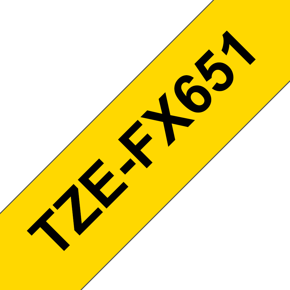 Genuine Brother TZe-FX651 Flexible ID Tape – Black on Yellow, 24mm wide 3