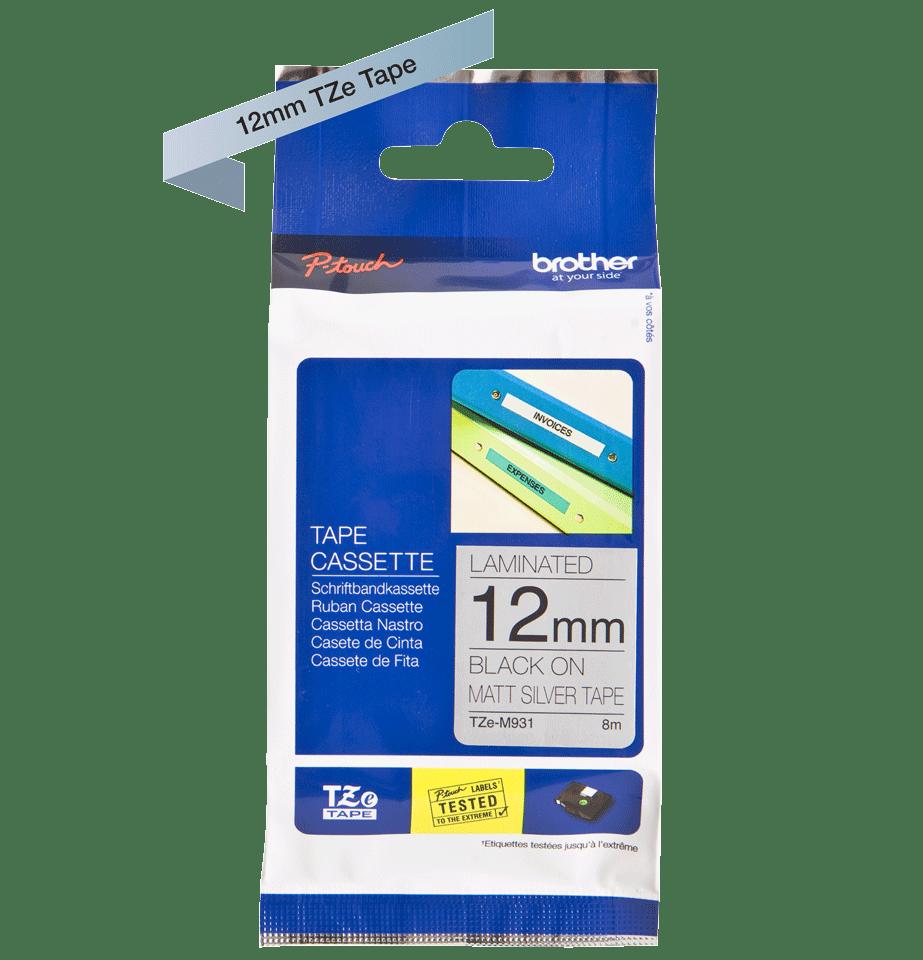 Genuine Brother TZe-M931 Labelling Tape Cassette – Black on Matt Silver, 12mm wide 2