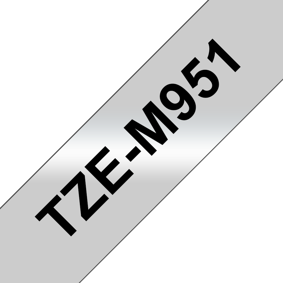Genuine Brother TZe-M951 Labelling Tape Cassette – Black on Matt Silver, 24mm wide 2