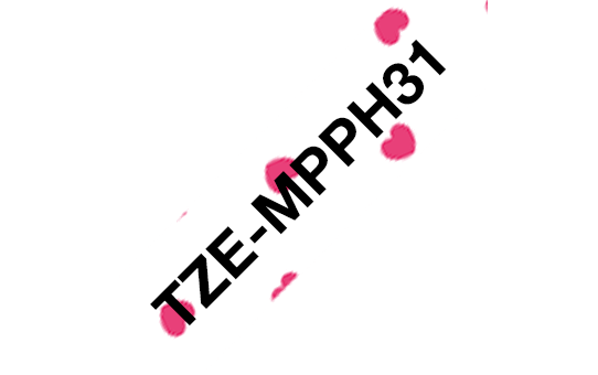 Genuine Brother TZe-MPPH31 Labelling Tape Cassette – Black on Pink Hearts, 12mm wide 3