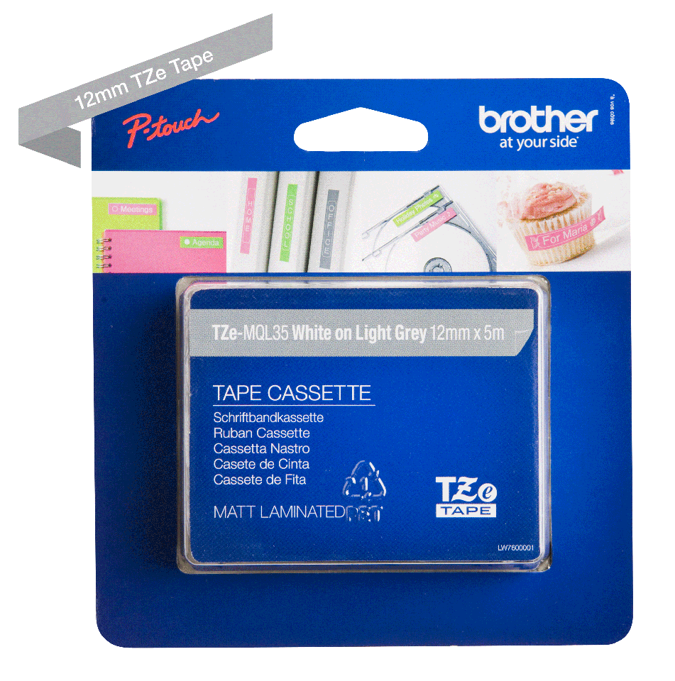 Genuine Brother TZe-MQL35 Labelling Tape – White on Grey, 12mm wide 2