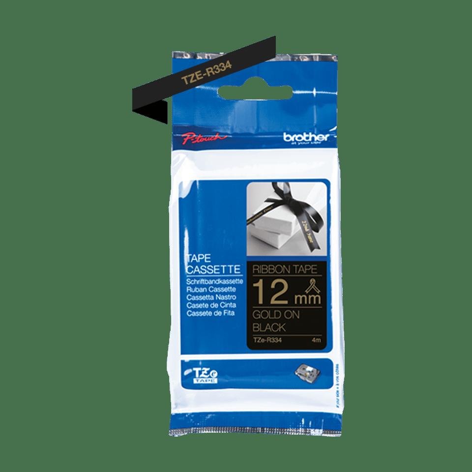 Genuine Brother TZe-R334 Ribbon Tape Cassette – Gold on Black, 12mm wide 2