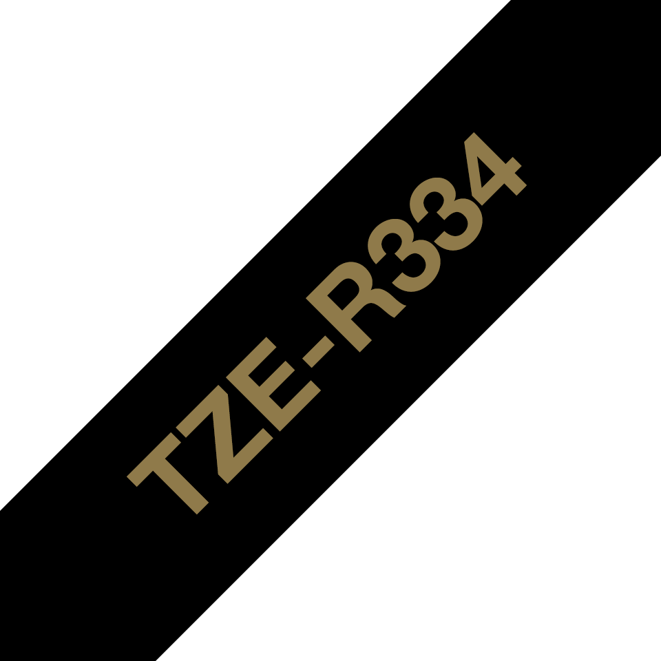 Genuine Brother TZe-R334 Ribbon Tape Cassette – Gold on Black, 12mm wide