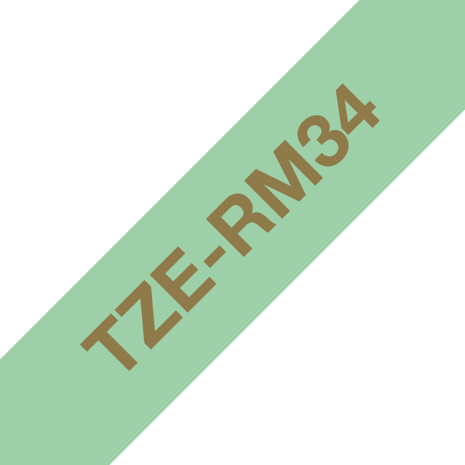 Genuine Brother TZe-RM34 Ribbon Tape Cassette – Gold on Mint Green, 12mm wide