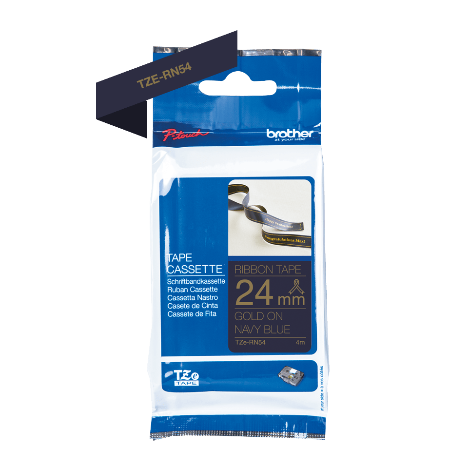 Genuine Brother TZe-RN54 Labelling Tape Ribbon– Gold on Navy Blue, 24mm wide 2