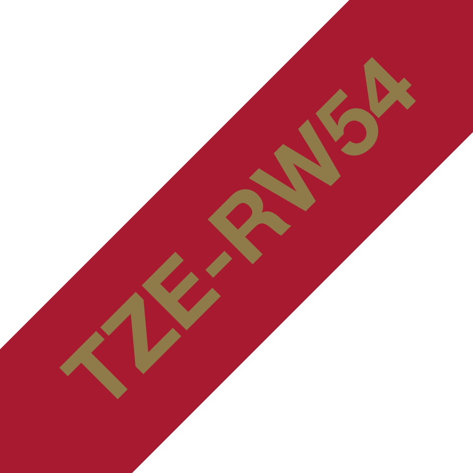 Genuine Brother TZe-RW54 Ribbon Tape Cassette – Gold on Wine Red, 24mm wide