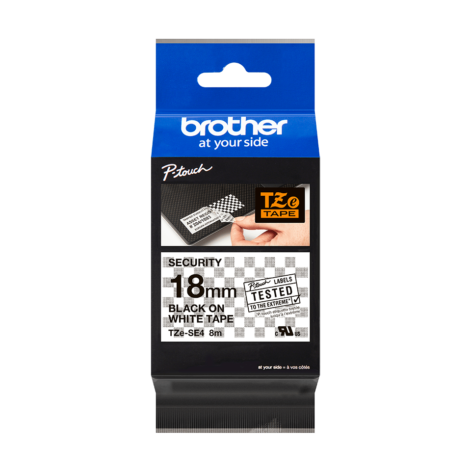 Genuine Brother TZe-SE4 Labelling Tape Cassette – Black on White, 18mm wide 4